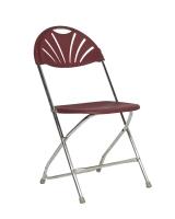 Burgundy Plastic Fan Back Chair