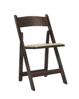 Mahogany Wood Folding Chair with Ivory Seat
