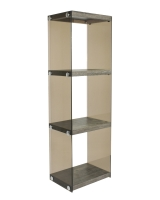 3 Tier Glass Bookshelf - Gray