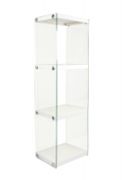 3 Tier Glass Bookshelf - White