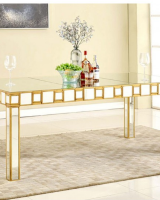 Mirror Table with Gold Trim